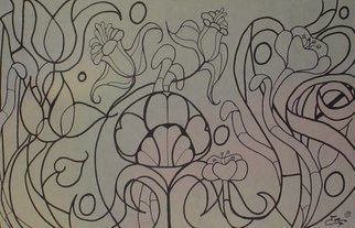 Eve Co: 'Lily of the Deco', 2001 Pen Drawing, Abstract.  Lily of the DecoNouveau lily type drawing ...