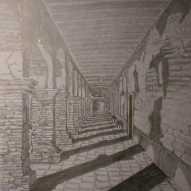 Eve Co Artwork San Juan Capistrano Mission Dark Hallway with Arches, 2009 Pencil Drawing, Architecture