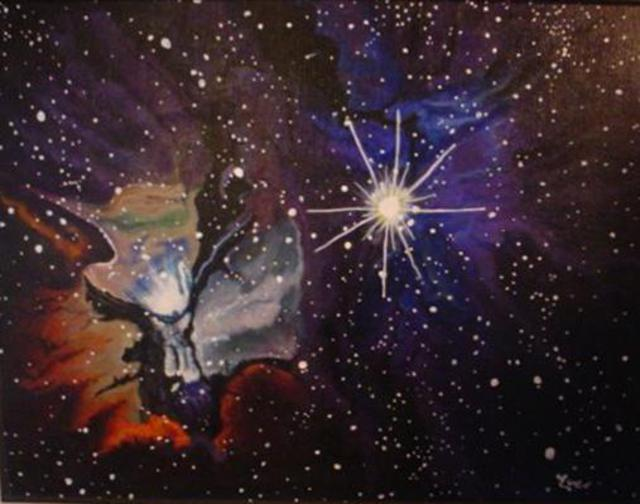 Eve Co  'Trifid Nebula In The Constellation Sagitarius', created in 1999, Original Painting Oil.