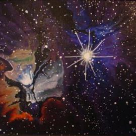 Eve Co: 'Trifid Nebula in the Constellation Sagitarius', 1999 Acrylic Painting, Science. Artist Description: Trifid Nebula in the Constellation SagitariusLiquitex Acrylics on Canvas36