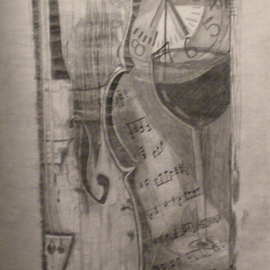 Eve Co Artwork Violin Shadows, 2011 Pencil Drawing, Abstract Figurative