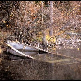Matthew Hutton Artwork Fall Boat, 2009 Color Photograph, Landscape