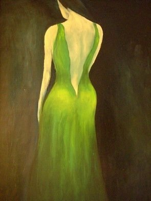 Birgit Schnapp: 'Woman in the green dress', 2006 Oil Painting, People.  woman, green dress, abstract    ...