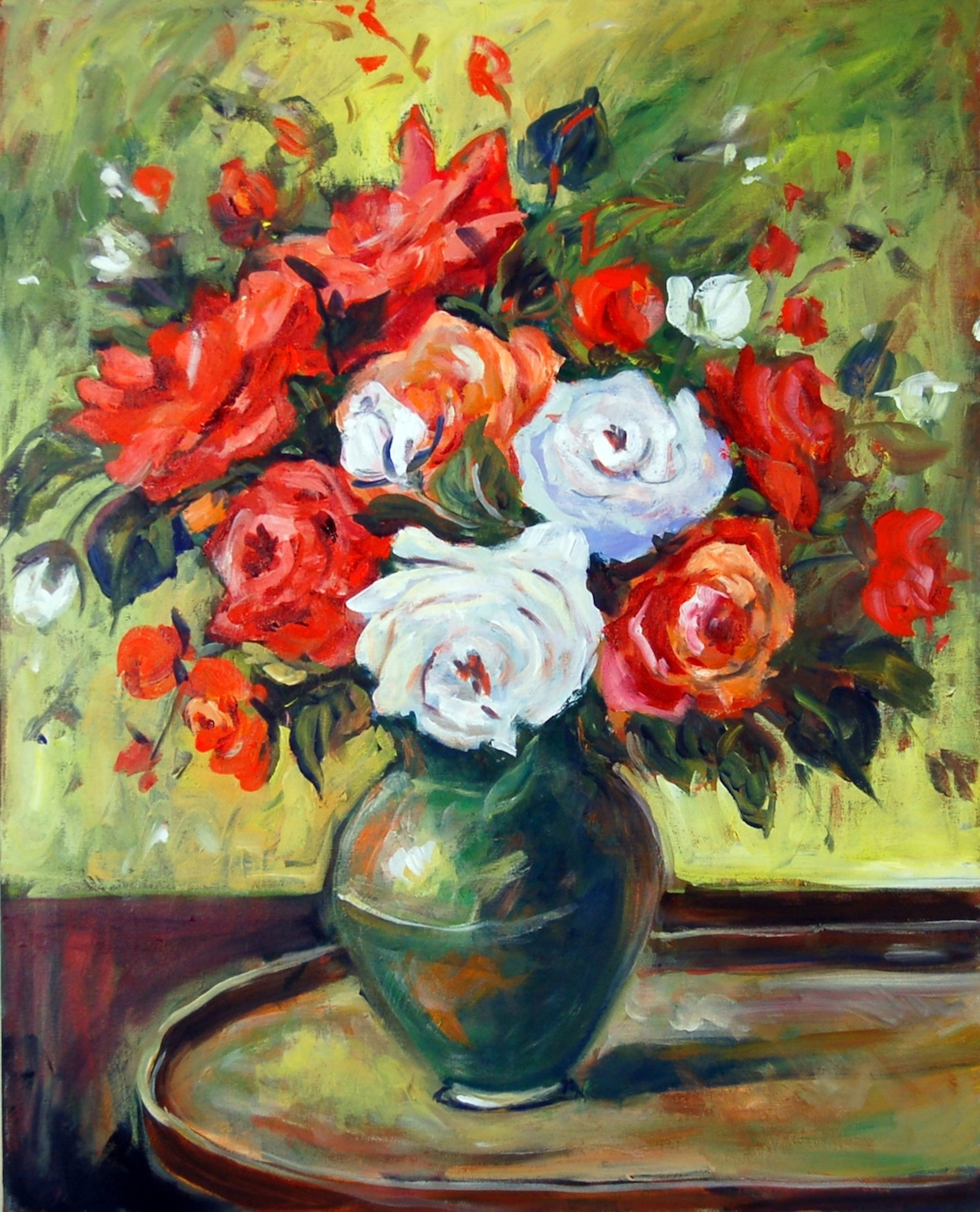 Ingrid neuhofer dohm artwork red and white roses for Floral acrylic paintings