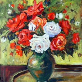 Ingrid Neuhofer Dohm Artwork Red and White Roses, 2011 Acrylic Painting, Floral