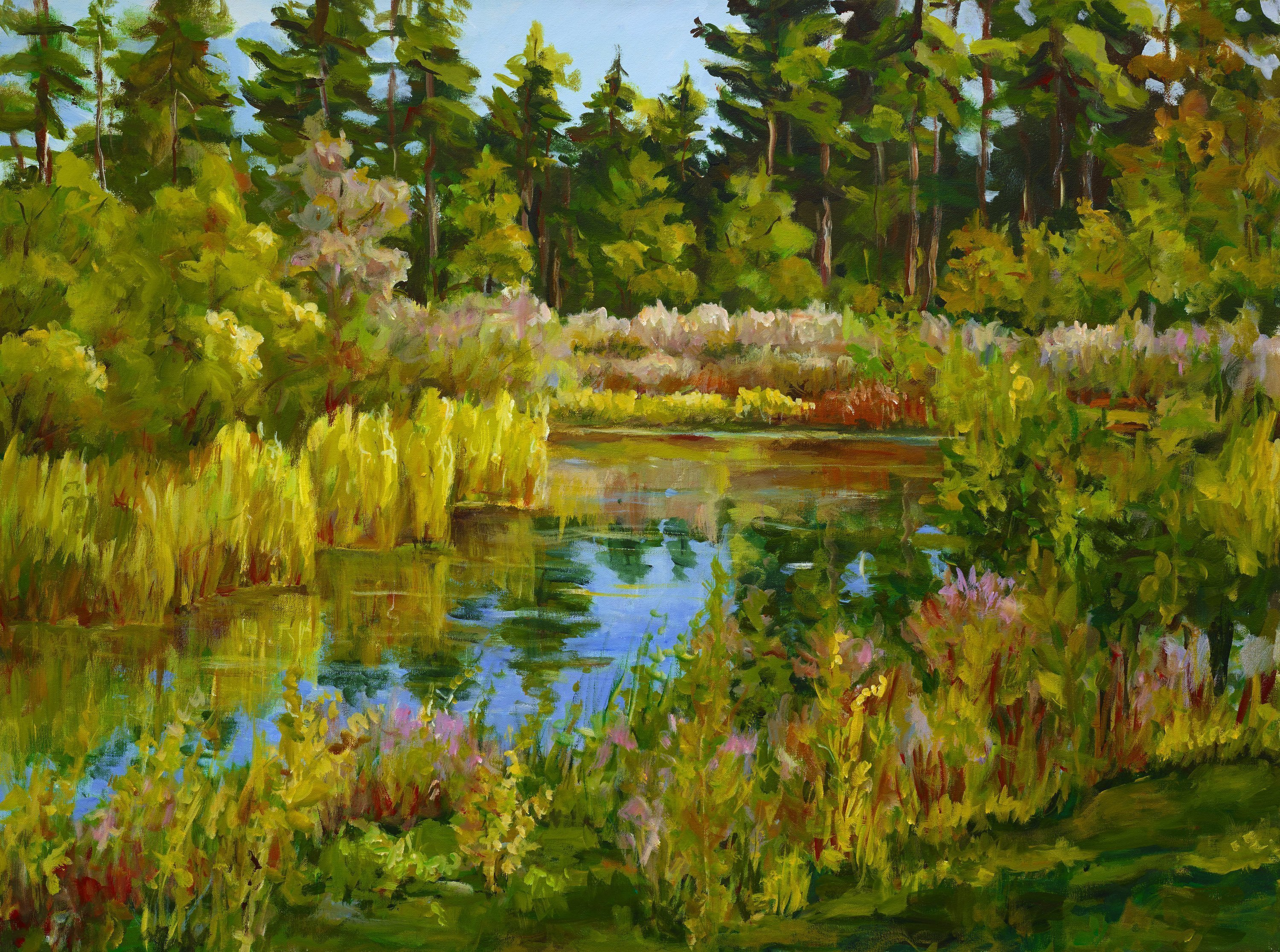 Trees Acrylic Painting by Ingrid Neuhofer Dohm Title: Rock Valley College Pond, created in 2014