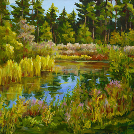 Ingrid Neuhofer Dohm Artwork Rock Valley College Pond, 2014 Acrylic Painting, Trees