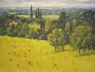 Ingrid Neuhofer Dohm: 'a vew towards vienna', 2014 Acrylic Painting, Impressionism. Artist Description: landscape, countryside, Vienna, ...