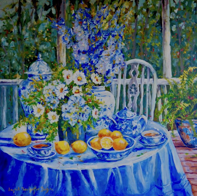 Ingrid Neuhofer Dohm  'Luncheon On The Veranda', created in 2018, Original Painting Acrylic.