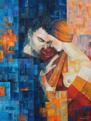 Ia Saralidze: 'aroma', 2015 Oil Painting, Love. Artist Description: Fragrance, man, woman, love, cubism...