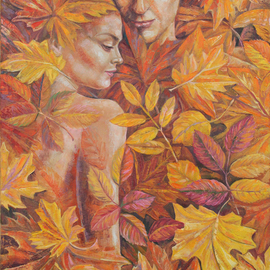 Ia Saralidze: 'autumn for a two', 2014 Oil Painting, Love. Artist Description: Autumn, love, he and she, leaves, abstraction...