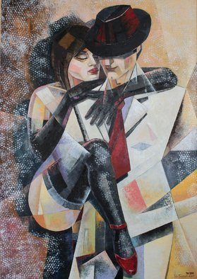 Ia Saralidze: 'love and tango', 2016 Oil Painting, Love. Artist Description: Love and tango, the dance, the man and the woman...