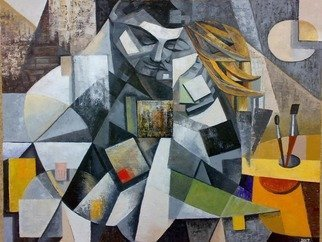 Ia Saralidze: 'the muse', 2017 Oil Painting, Love. Artist Description: Muse, cubism, love,artist...