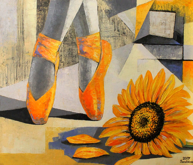 Ia Saralidze  'Yellow Pointe Shoes', created in 2017, Original Painting Oil.