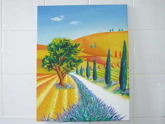Cathy Gent: 'Roads, French Lavender', 2008 Oil Painting, Psychedelic.