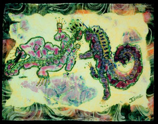 Artist: Ione Citrin - Title: Leapin Lizards - Medium: Watercolor - Year: 2009