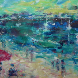 Irene Gloux: 'larmor plage france', 2008 Acrylic Painting, Seascape. Artist Description:  this is a beach in Brittany france ...