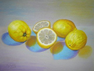 Irene Suprun: 'Lemons', 2009 Oil Pastel, Food.