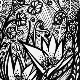 Irina Maiboroda: 'A Fargment from Creatures of Earth Sea and Sky', 2016 Ink Drawing, Surrealism. Artist Description:   drawing, ink, imaginary, creatures, flowers, black, white, water     ...