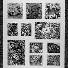 Irina Maiboroda: 'Creatures of Earth Sea and Sky', 2016 Ink Drawing, Surrealism. Artist Description:  drawing, ink, imaginary, creatures, fish, frog, bird, black, white, flowers ...