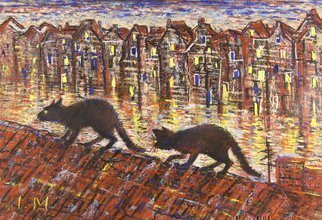 Irina Maiboroda: 'On Her Majesty s Secret Service', 2010 Pastel, Impressionism. Artist Description: pastel, cat, cats, night, irony, urban, Amsterdam, roof,  the work is under a passe- partout 50x40 cm....