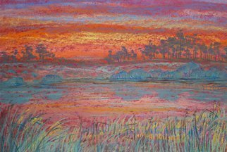 Irina Maiboroda: 'Red sunset over the dunes ', 2012 Pastel, Impressionism. Artist Description: pastel, landscape, dunes, scenic, sunset, mood, nature, sun, colorful, The work is under a passe- partout 50x40 cm. ...