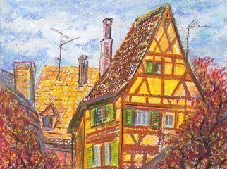 Irina Maiboroda: 'Roofs of Kaysersberg', 2015 Pastel, Impressionism. Artist Description:  pastel, landscape, Alsace,  Kaysersberg, France, urbane, architecture, history, historic, plein- air.The work is under a passe- partout 50x40 cm.      ...