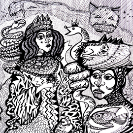 Irina Maiboroda Artwork The queen of waters snakes, 2013 Ink Drawing, Abstract Figurative