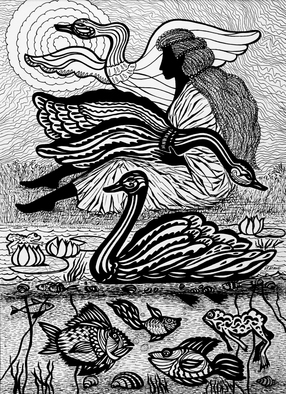 Irina Maiboroda Artwork Wild swans, 2013 Ink Drawing, Undecided