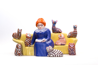 Irina Maiboroda Artwork reading lady and her cats, 2017 Ceramic Sculpture, Figurative