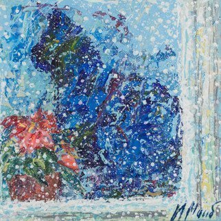 Irina Maiboroda: 'waiting for the summer', 2017 Mixed Media, Impressionism. Artist Description: winter, new year eve, snow, cat, window, frost, flower, snowing,  impressionism ...