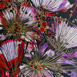 Irina Rumyantseva: 'Explosive Flowers', 2015 Acrylic Painting, Floral. Artist Description:  A unique style of floral painting. Blossoming abstract poppies using purple/ lilac and pink acrylic flowers on deep edge box canvas, ready to hang. ...