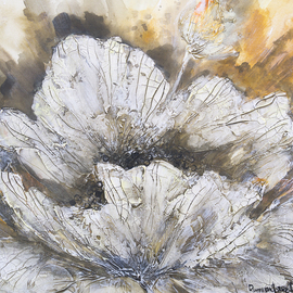 Irina Rumyantseva: 'Spring White Flower', 2015 Acrylic Painting, Floral. Artist Description:  A heavily textured floral acrylic painting, white flower blossoming on a rich golden brown background. Painted on a deep edge box canvas, ready to hang.  ...