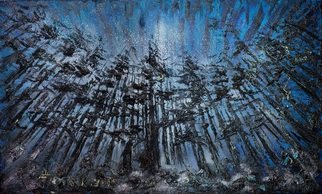 Irina Tretyak: 'Eternity', 2015 Oil Painting, Impressionism. Artist Description:  Under this cedar, under the century- old linden trees in front of a picture of unceasing harvest, in the evenings under the stars, minutes gain value at last .Andre MoruaPainting oil on canvasKeywords Eternity, night forest, the eternal dream...