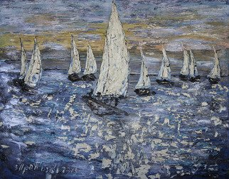 Irina Tretyak: 'flower of the winds', 2015 Oil Painting, Impressionism. Artist Description:  Catch a fair wind with their sails. Explore. Dream. Open.Mark Twain Painting: oil on canvas...