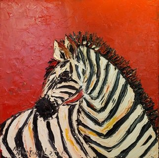 Irina Tretyak: 'once at a sunset', 2016 Oil Painting, Impressionism. Artist Description: Everyone sees in their own spectrum, and something that is obvious for the one, will remain a mysteryfor another. Roman PodzorovPainted oil on canvasKeywords Zebra, red, zebra in red, sunset...