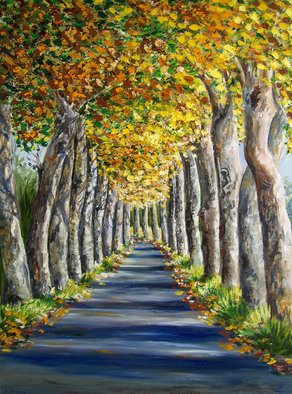 Trees Oil Painting by Isabelle Dupuy Title: Avenue of Plane Trees, created in 2008