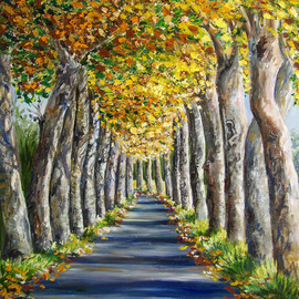 Isabelle Dupuy Artwork Avenue of Plane Trees, 2008 Oil Painting, Trees