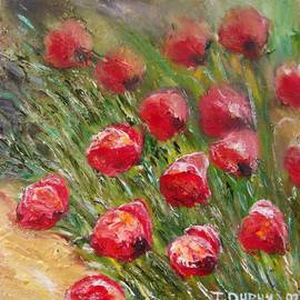 Isabelle Dupuy: 'Poppies with Soft Effect', 2007 Oil Painting, Floral. Artist Description:  This is a new technique where I use a my fingers to make a soft background and add with my palette knife the foreground so it make a three dimensional artwork ...
