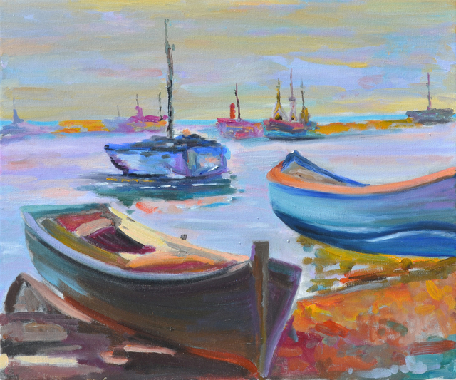 Isabel Garro  'Boats', created in 2018, Original Painting Oil.