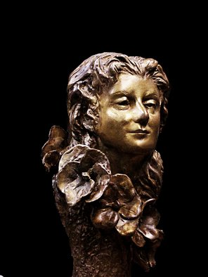 Martin Glick: 'Laura', 2011 Ceramic Sculpture, Figurative.   This is a rare piece for me to do.  Something that is purely decorative & hopefully pretty.  the face and the flowers are sort of Art Deco, but the tree column on which she is mounted is Art N0urveau.  ...