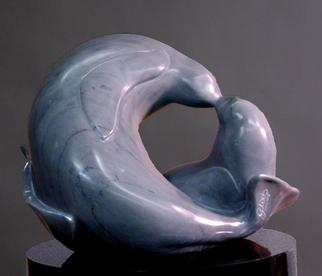 Animals Stone Sculpture by Martin Glick titled: Sealed with a Kiss, created in 2005