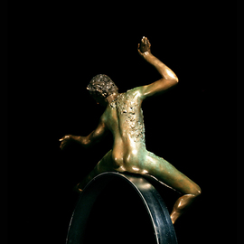 Martin Glick: '  Puck', 2011 Bronze Sculpture, Dance. Artist Description:  Puck is a character in both the play and the ballet A Midsummers Night DreamPuck is an impish character that is very wise.  This sculpture is a patinated bronze dancer on top of a chrome plated steel hoop.  ...