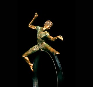 Martin Glick: '  Puck', 2011 Bronze Sculpture, Dance. Puck is a character in both the play and the ballet A Midsummers Night DreamPuck is an impish character that is very wise.  This sculpture is a patinated bronze dancer on top of a chrome plated steel hoop.  ...