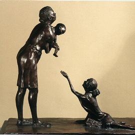 Martin Glick Artwork the Plight of Afro American Women with AIDs, 2003 Bronze Sculpture, Representational