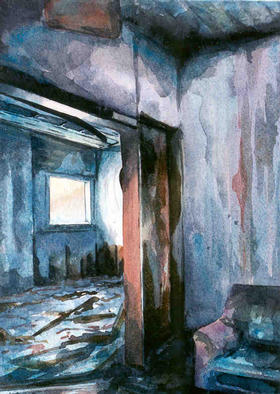 Artist: Ian Sheldon - Title: Stained Walls and Junk - Medium: Watercolor - Year: 1999
