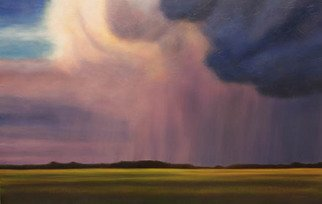 Ian Sheldon: 'Waning Storm at Sundown', 2010 Oil Painting, Landscape.