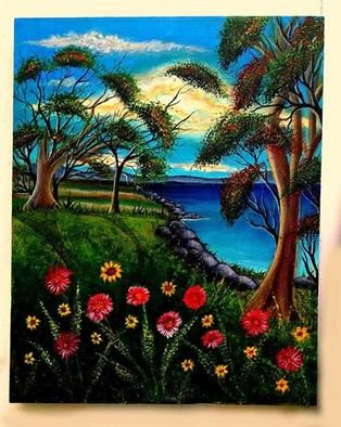 Ishrat Ishtiaq: 'spring lake new jersey', 2018 Acrylic Painting, Seascape. Artist Description: spring, lake, landscape, seascape...