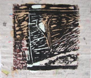 Tamara Sorkin: 'A strong wind', 2010 Woodcut, Figurative.  woodcut on recycled homemade paper with chine colee ...