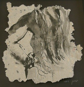 Tamara Sorkin: 'ink nude on recycled paper', 2009 Pen Drawing, Figurative.   Currently exhibited in artists house, Haifa, Paper Time    ...